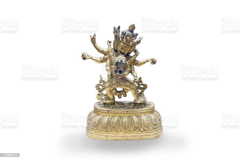 Chinese ancient Tibetan Buddhism, bronze happy Buddha royalty-free stock photo