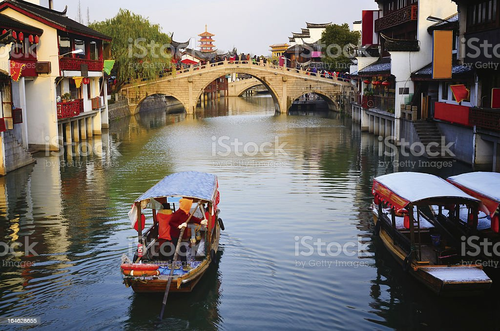 Chinese ancient town after the snow stock photo