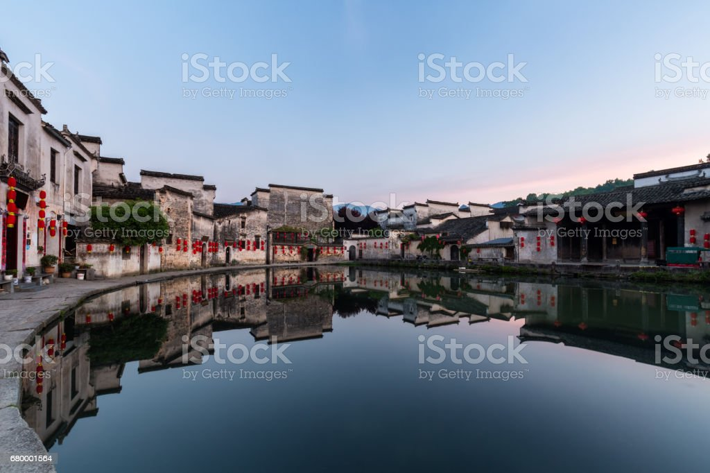 chinese ancient villages in dawn stock photo