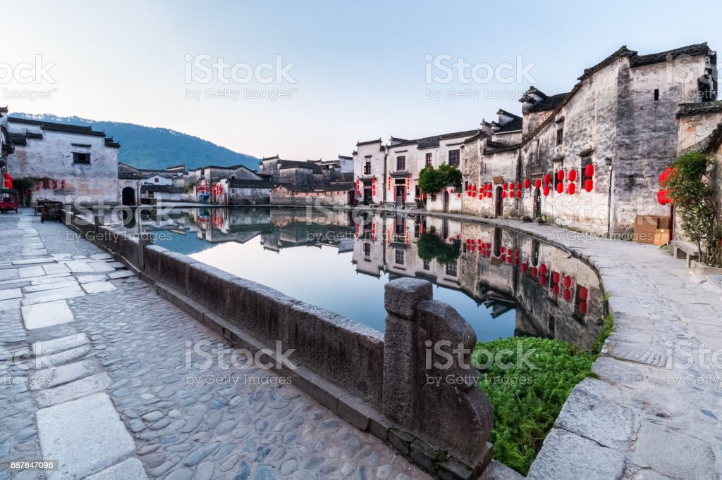 chinese ancient villages in early morning stock photo