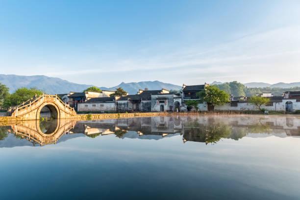 chinesische alte Dörfer am frühen Morgen – Foto