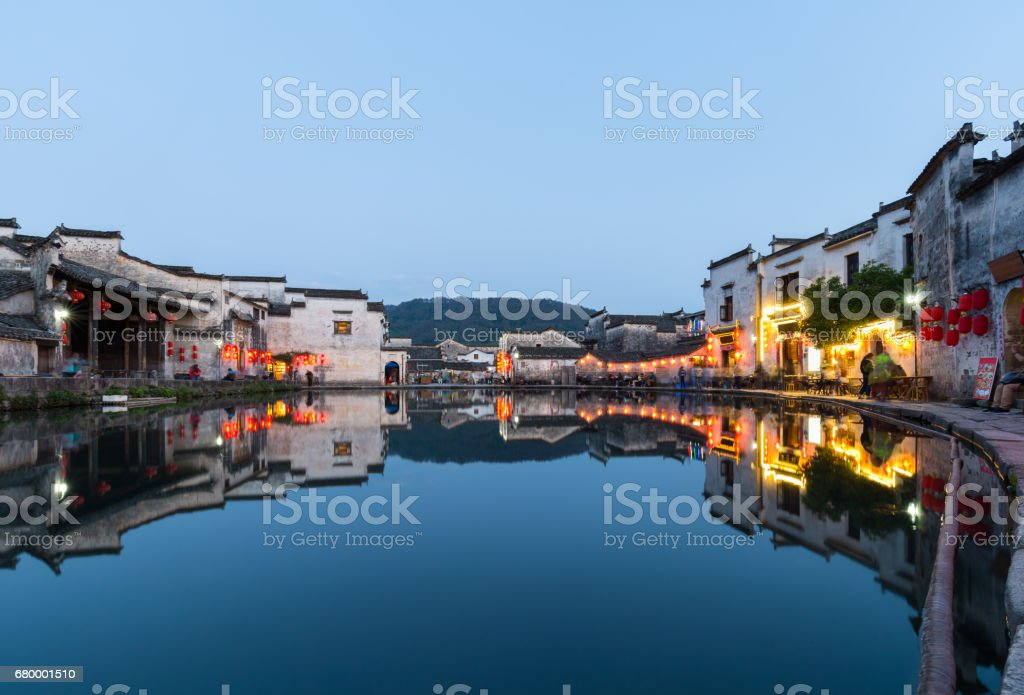 chinese ancient villages in nightfall stock photo