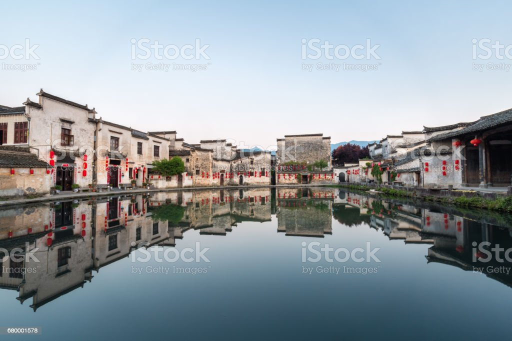 chinese ancient villages in the early morning stock photo