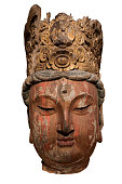 Chinese ancient wooden Buddha head sculpture