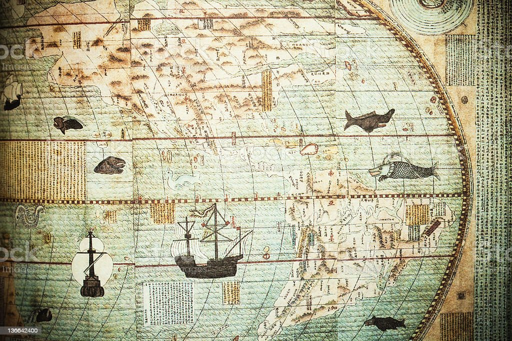 chinese ancient world map stock photo