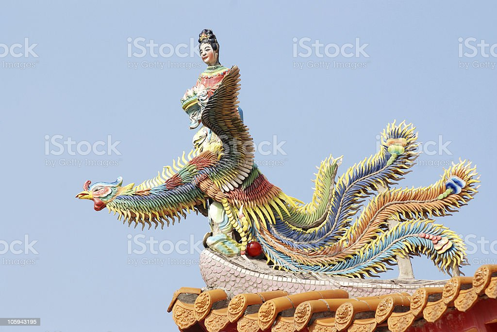Chinese angel and phoenix . royalty-free stock photo