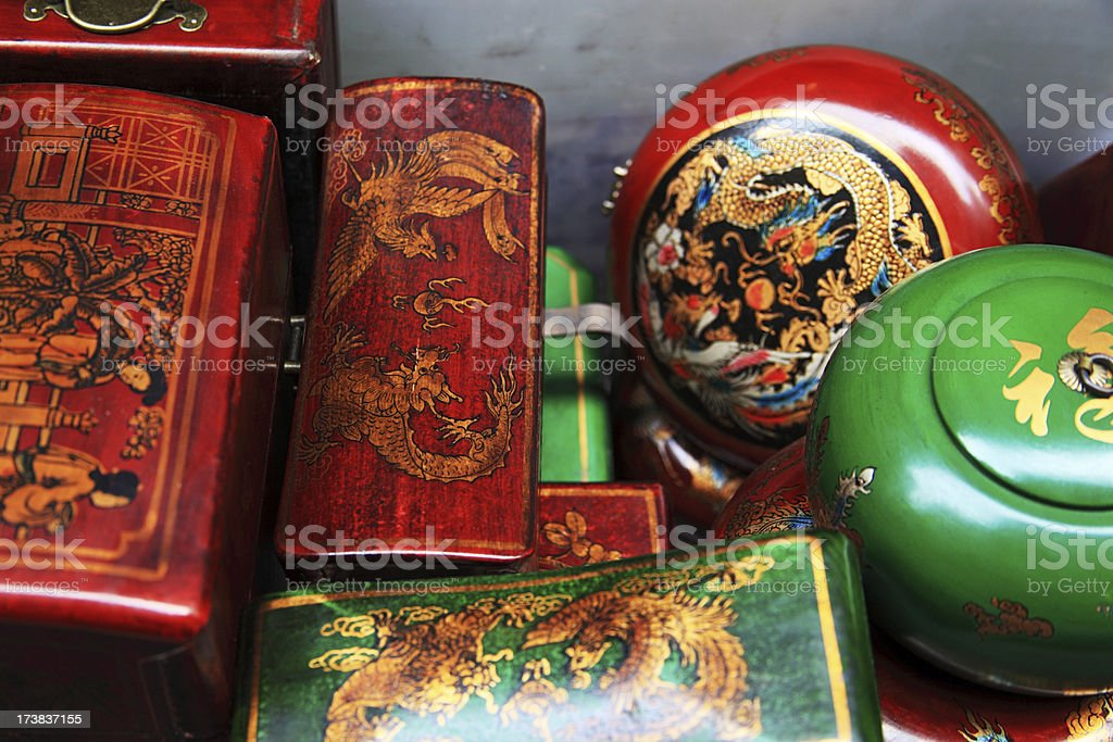 Chinese antique boxes or tea caddies stock photo