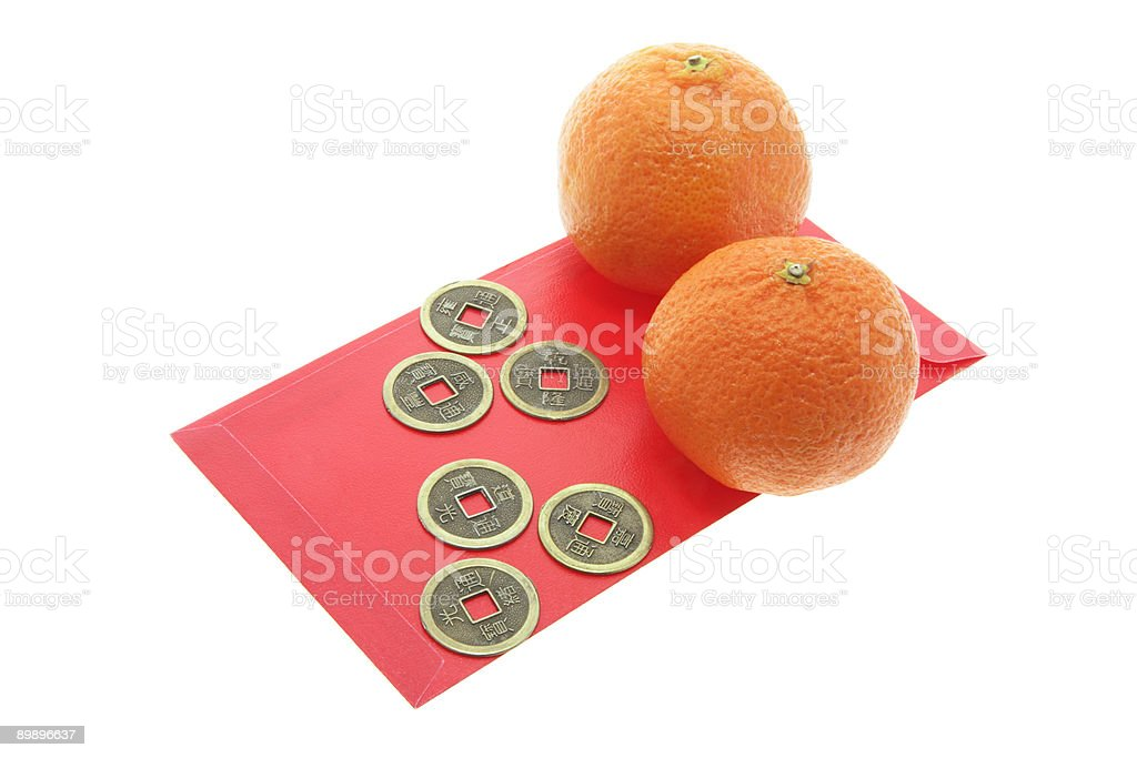 Chinese Antique Coins, Mandarins and Red Packets royalty-free stock photo