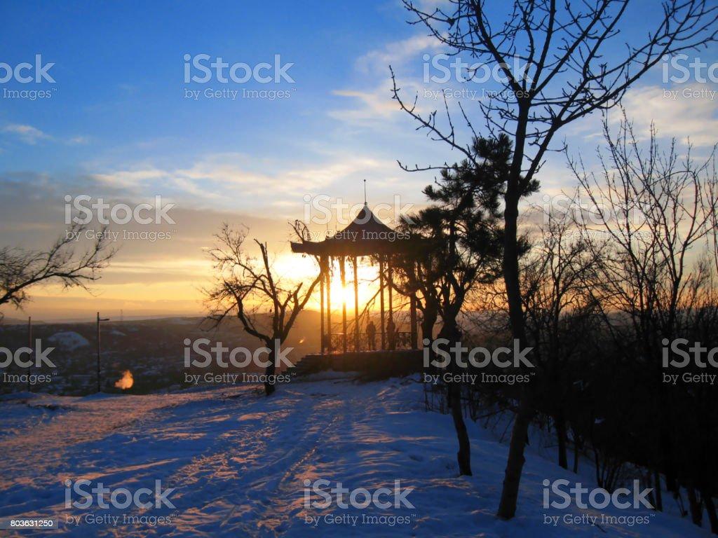 Chinese arbor. North Caucasus landmarks. Winter Pyatigorsk stock photo