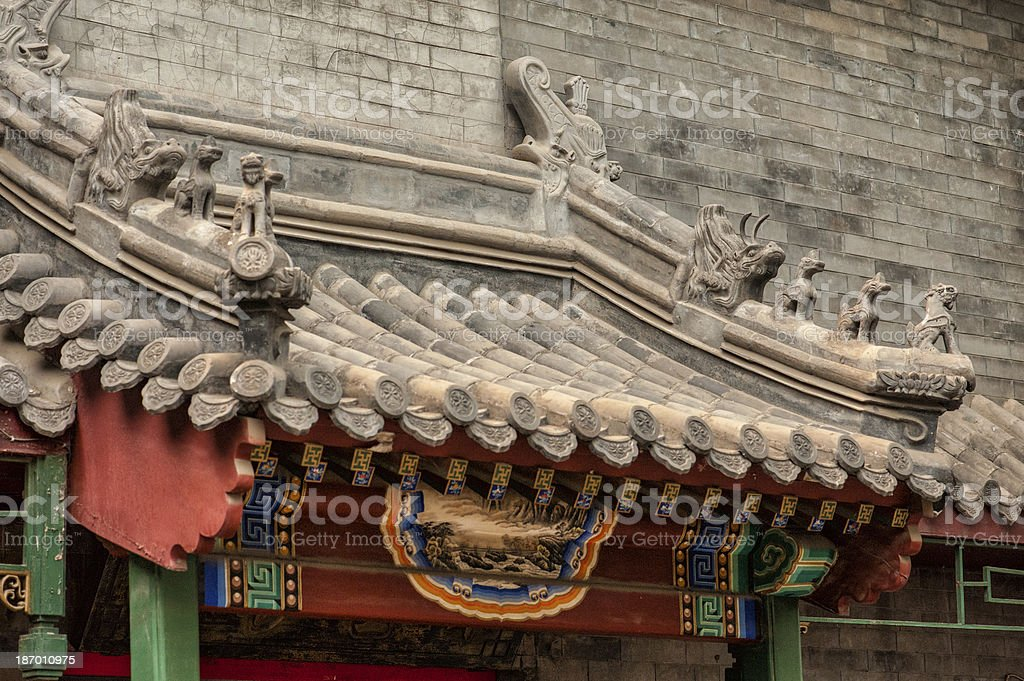Chinese architectural detail in the old Hutongs of Beijing stock photo