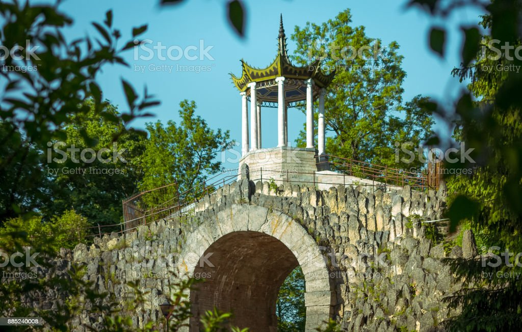 Chinese architecture in Russia stock photo