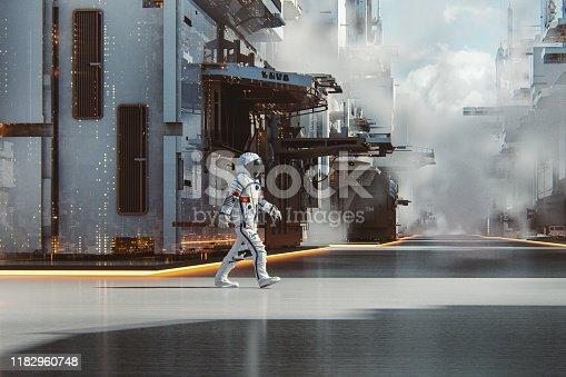 istock Chinese astronaut walking in futuristic city 1182960748