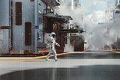 Chinese astronaut walking in futuristic city. This is entirely 3D generated image.