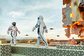 Chinese astronauts walking on exo planet base surface. This is entirely 3D generated image.