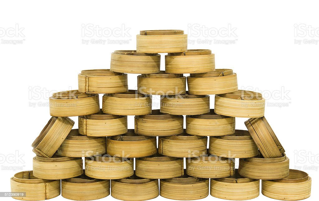 Chinese Bamboo Steamed container for dimsum stock photo