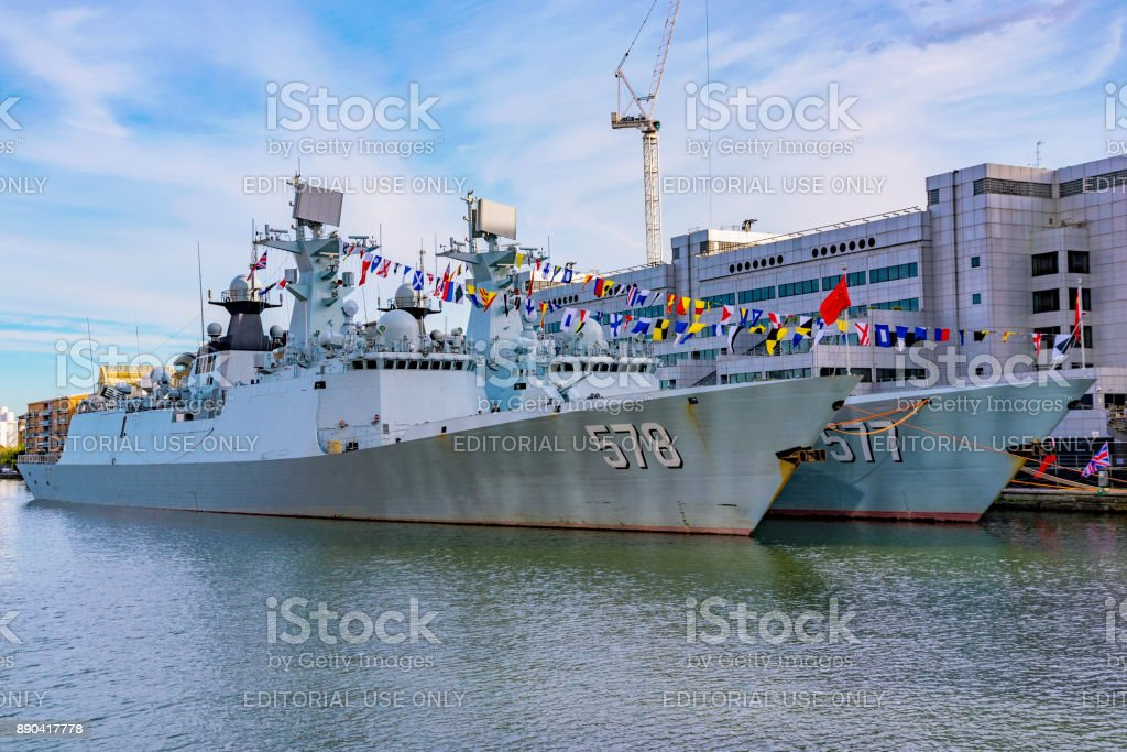 Chinese battleships in Canary wharf stock photo