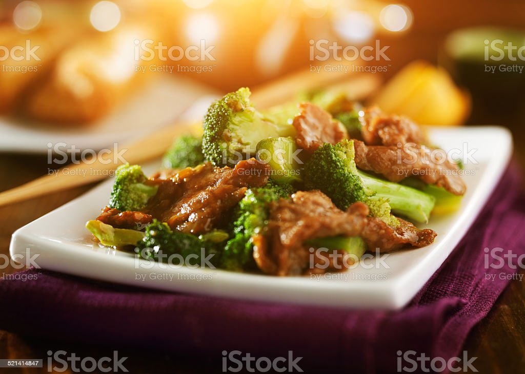 chinese beef and broccoli stock photo