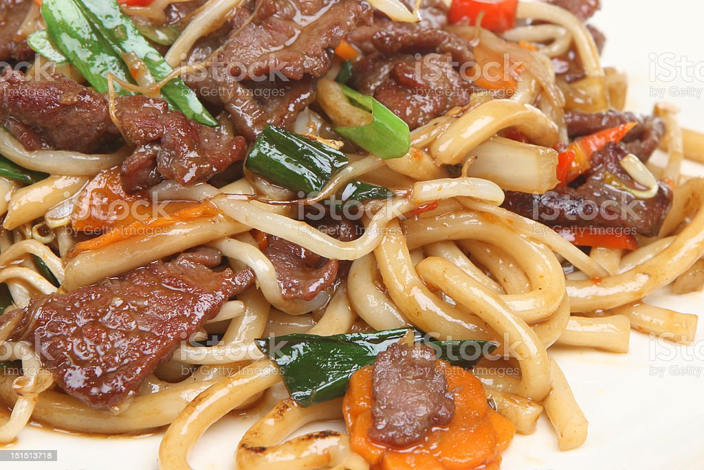 Chinese Beef with Noodles Takeaway royalty-free stock photo