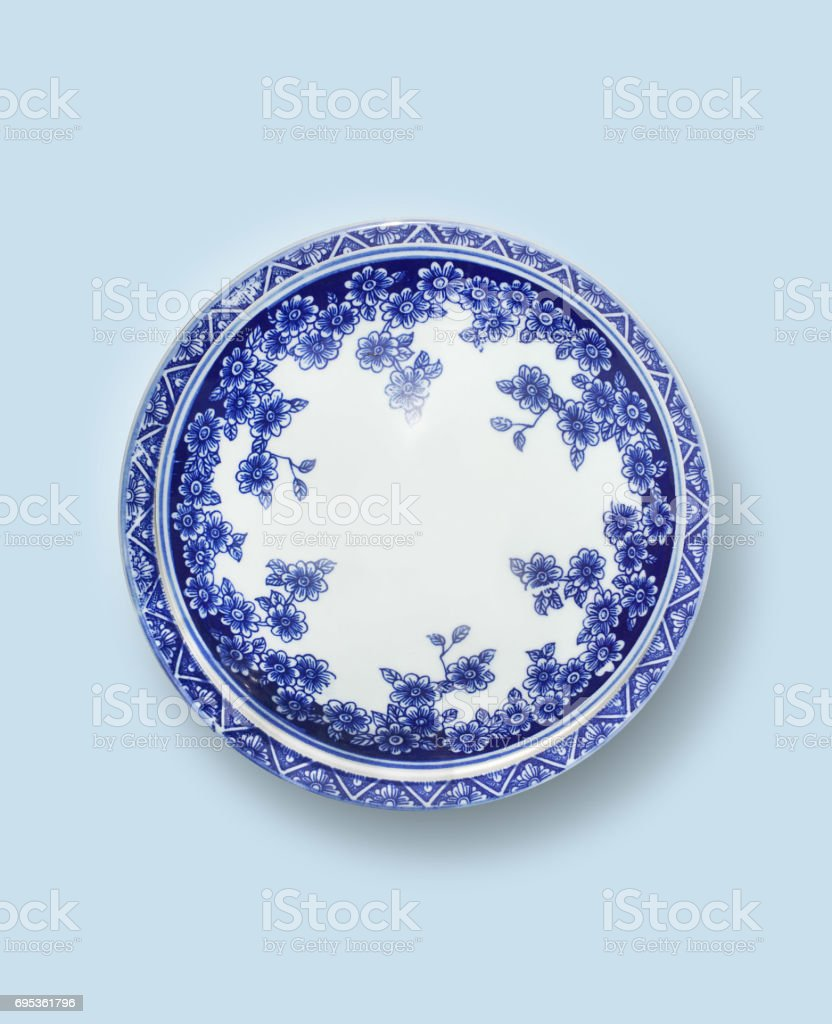 Chinese blue-and-white porcelain Plate stock photo