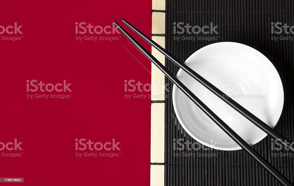 Chinese bowl and chopsticks royalty-free stock photo