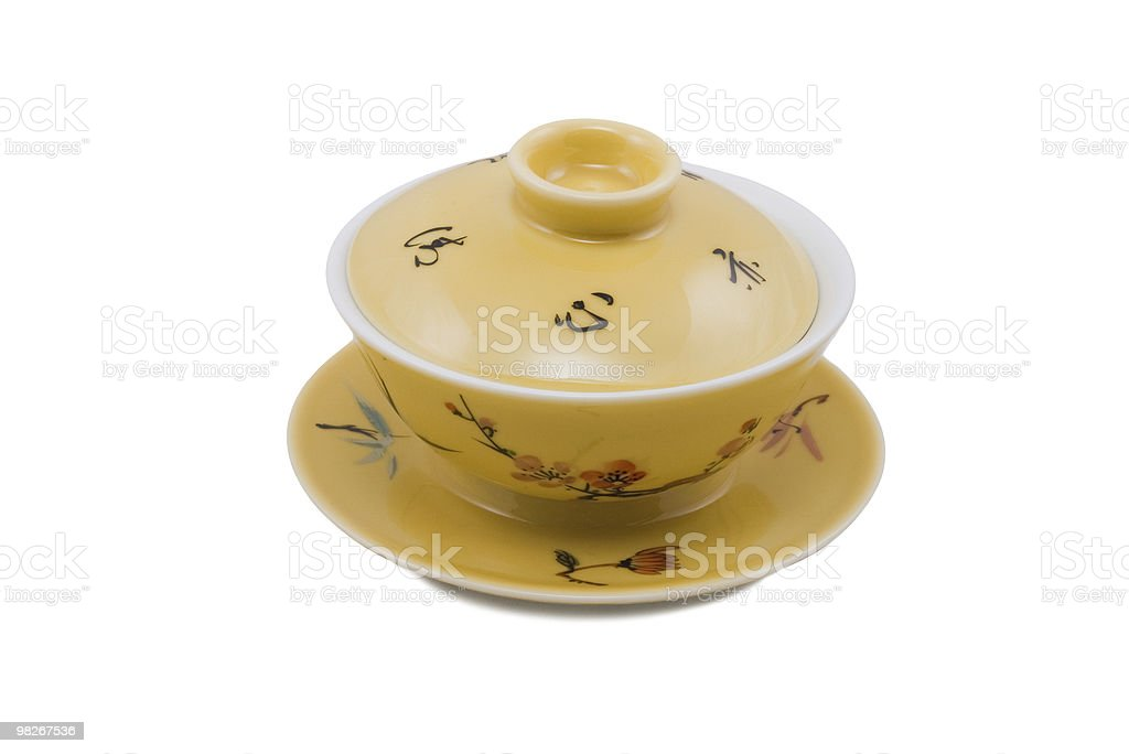 chinese bowl with cover and saucer royalty-free stock photo