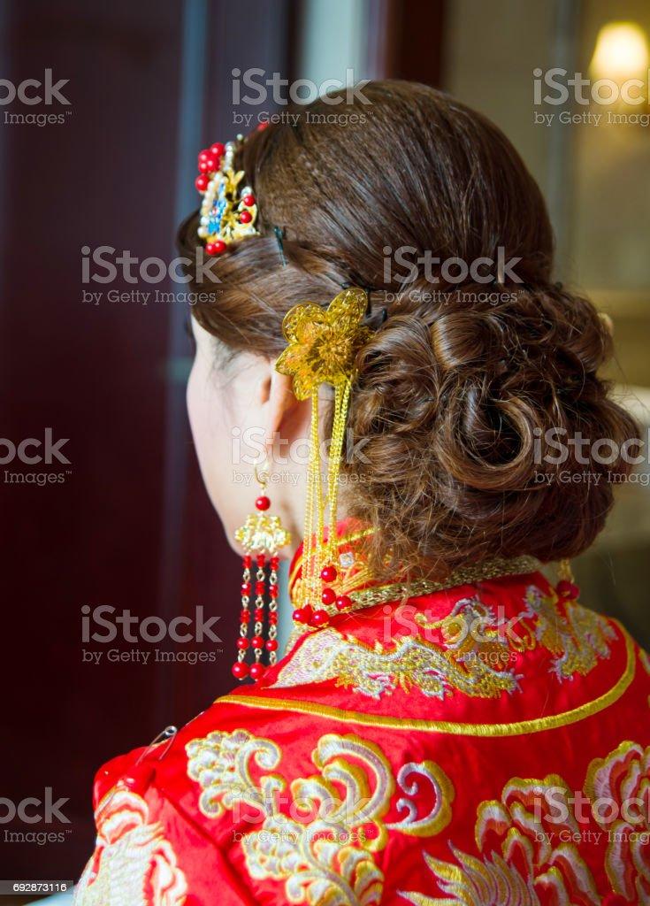 Chinesische Braut Frisur Hautnah Stockfoto Und Mehr Bilder Von