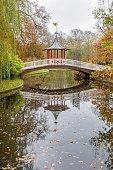 Frederiksberg Have, Copenhagen, Denmark, November 9, 2020, Chinese bridge in a romantic park, Frederiksberg Have which is a very popular public park in the Central Copenhagen