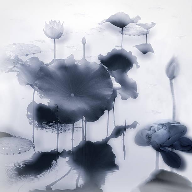 Chinese brush drawing effect of Lotus flower stock photo