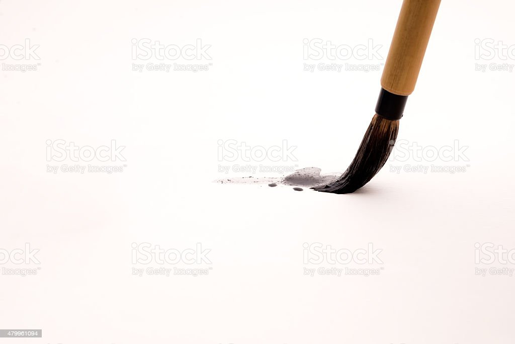 Chinese brushes on white papers stock photo