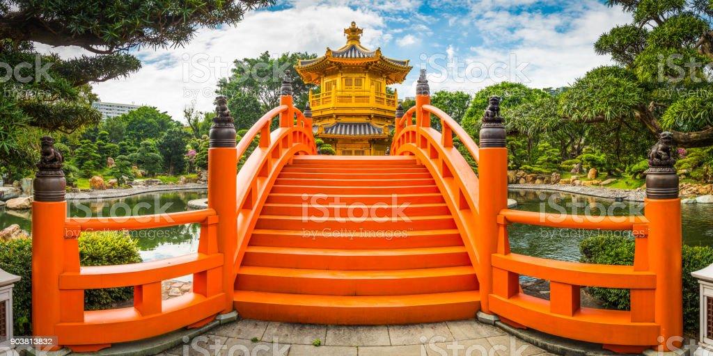 Chinese Buddhist temple Nan Lian Garden wooden bridge Hong Kong stock photo