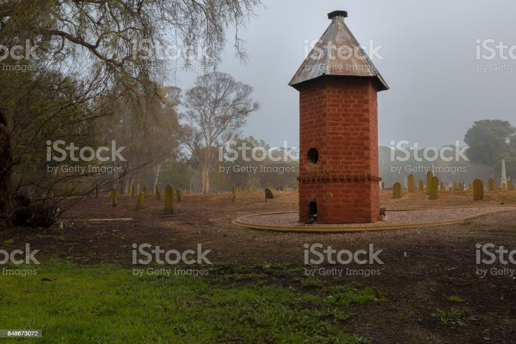 Chinese Burning Tower in the mist stock photo