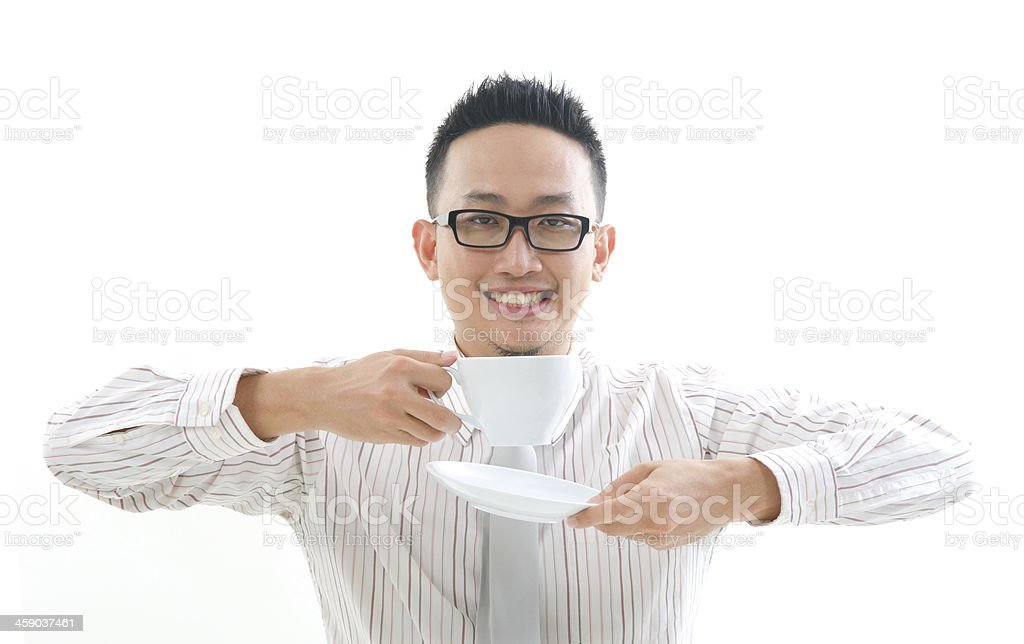 chinese business man having coffee stock photo