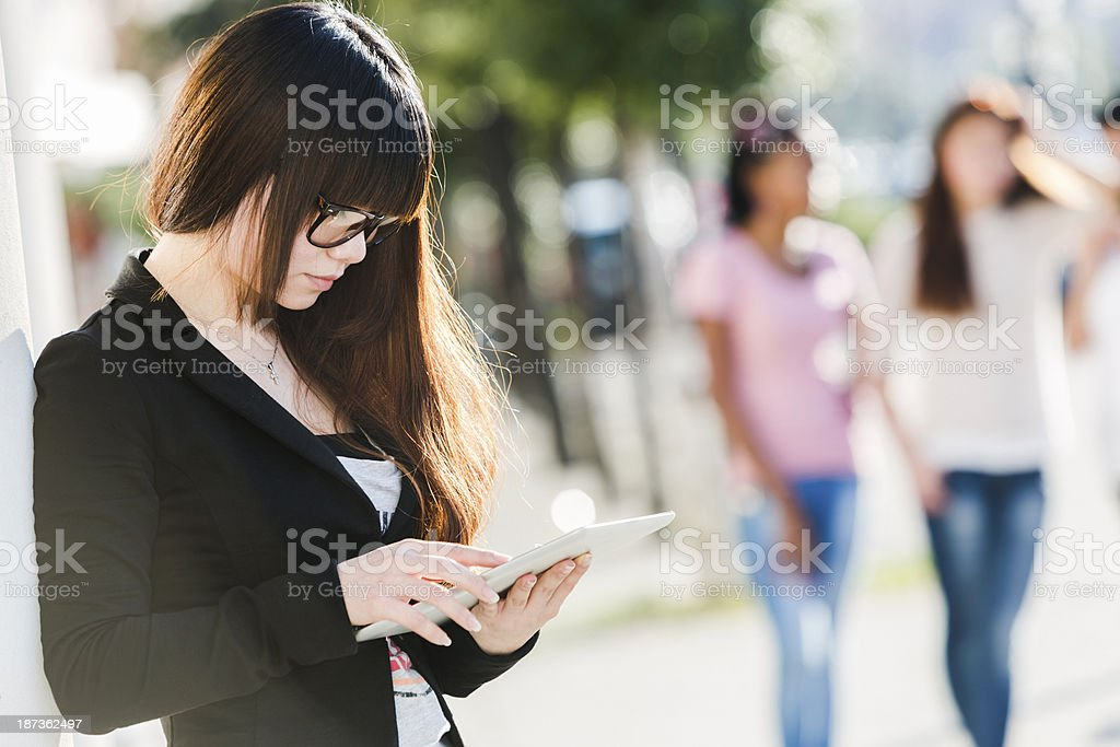 Chinese business woman using digital tablet royalty-free stock photo