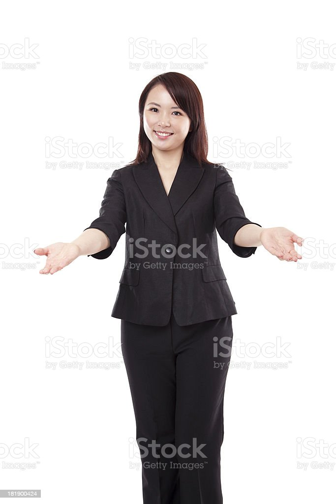 Chinese Businesswoman Arms Outreached Smiling on White Background stock photo