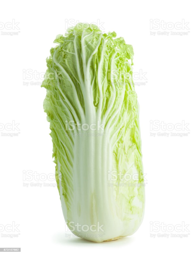 Chinese cabbage on white background stock photo