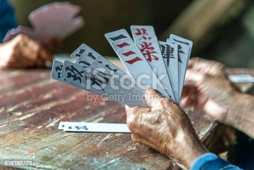 Elderly Chinese People Playing Card Games
