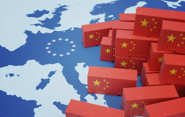 Chinese cargo containers on map of Europe. Import of chenese goods concept. 3D rendered illustration. stock photo