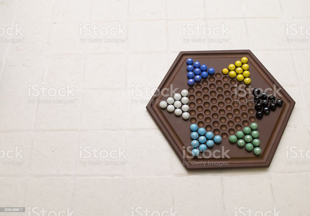 Chinese checkers set w/copy space stock photo