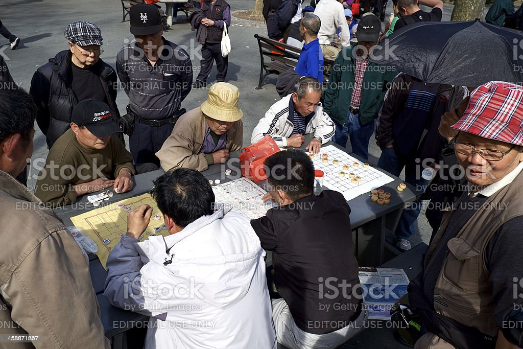 Chinese Chess Players in Columbus Park, China Town, NYC royalty-free stock photo