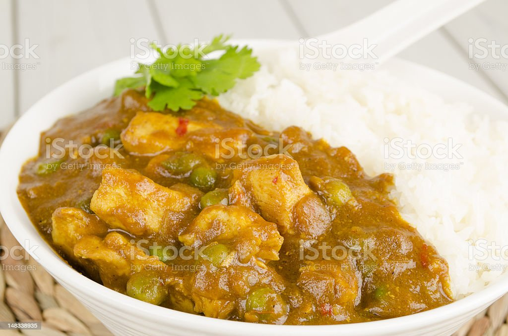 Chinese Chicken Curry & Steamed Rice royalty-free stock photo