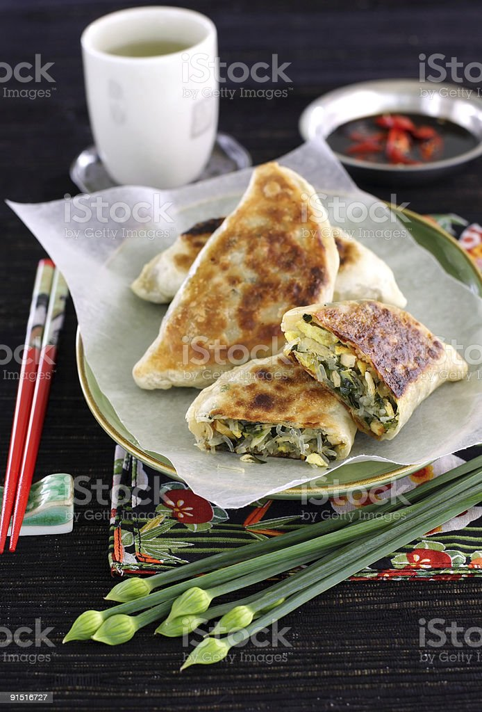 chinese chive stuffed pastry royalty-free stock photo