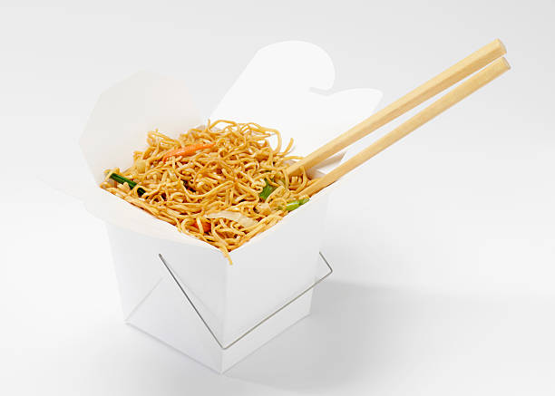 Chinese Chow Mein in Take-Out Container Chinese Chow Mein in Take-Out Container-Photographed on Hasselblad H1-22mb Camera chinese takeout stock pictures, royalty-free photos & images