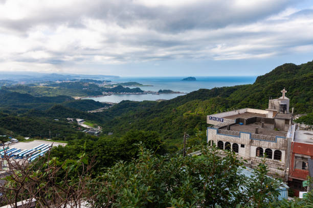 Chinese church and the Pacific coast seen from the Jiufen, Taiwan stock photo