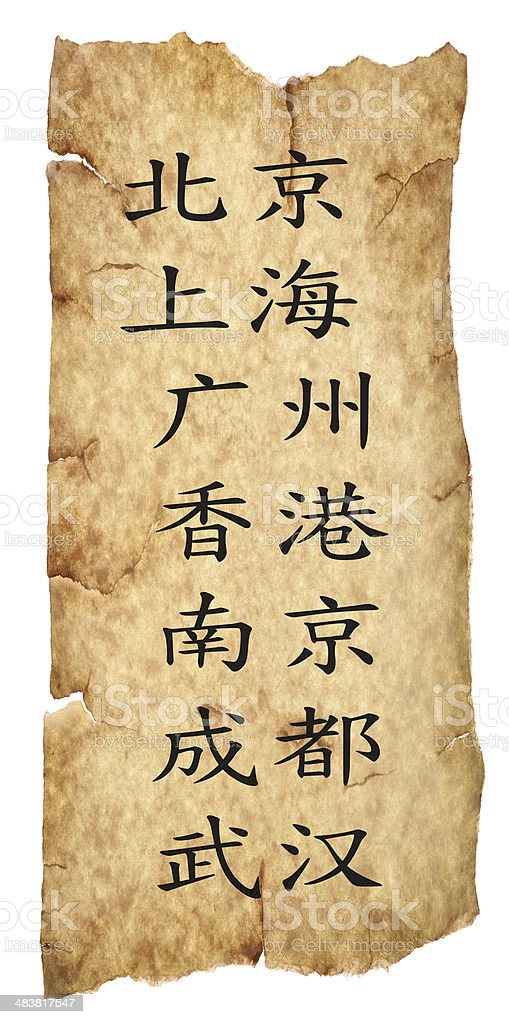 Chinese cities calligraphy on old paper stock photo