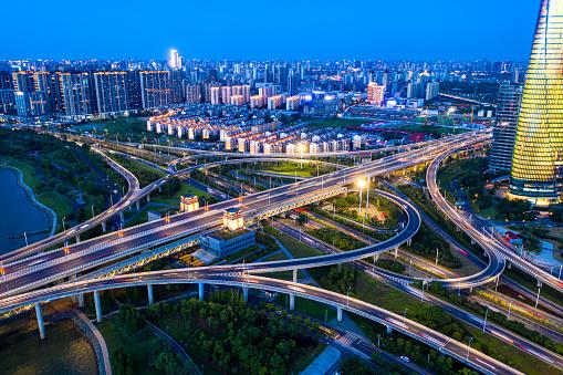 Chinese city, overpass night view, heavy traffic