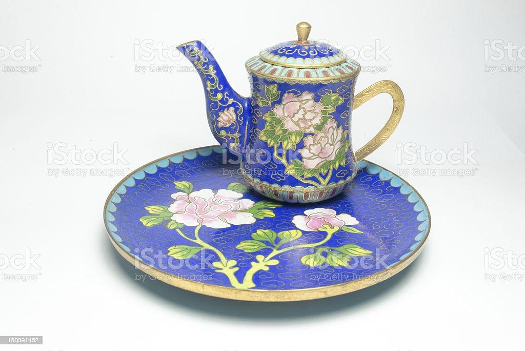 Chinese Cloisonne tea set stock photo