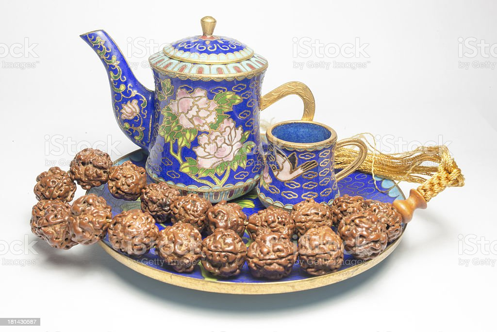 Chinese Cloisonne tea with zen stock photo