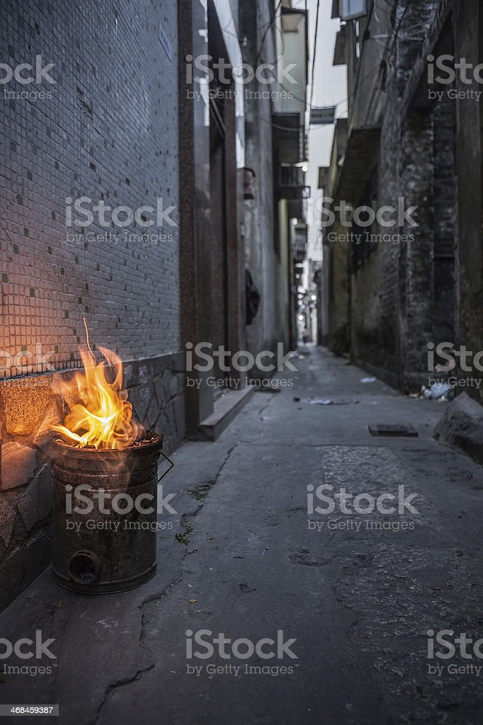 Chinese coal stove stock photo