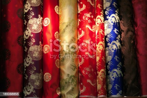 532522827 istock photo Chinese colorful silk samples 185068855