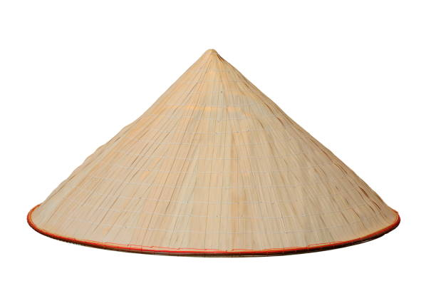 chinese conical isolated hat chinese conical trellis handmade hat isolated over white background vietnamese culture stock pictures, royalty-free photos & images